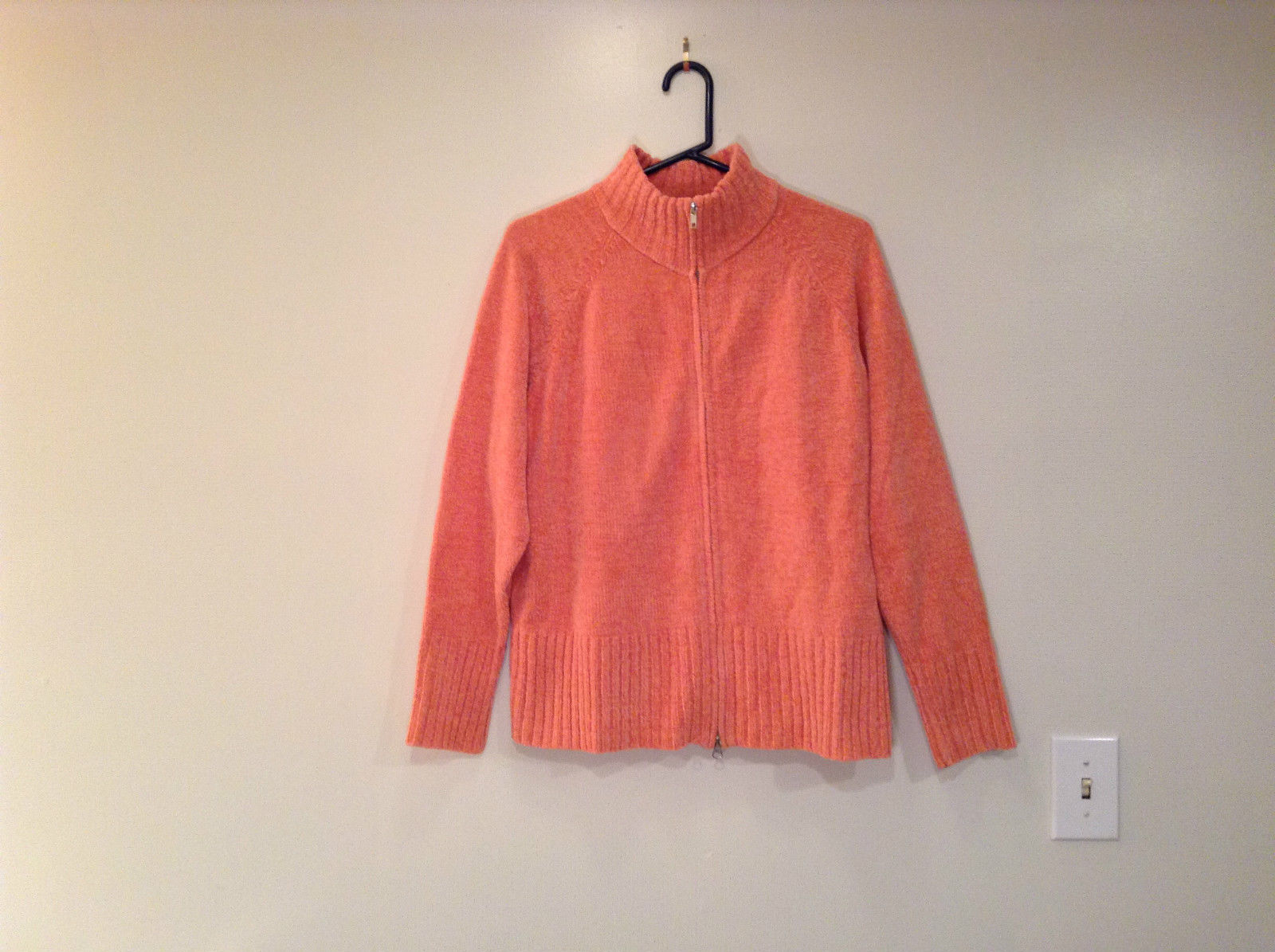 Denim and Company 100 Percent Acrylic Knitted Orange Size L Turtleneck Sweater