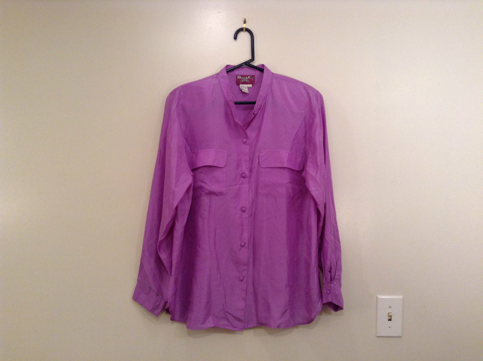 Denim and Company Size L Long Sleeve Lavender Button SILK Blouse