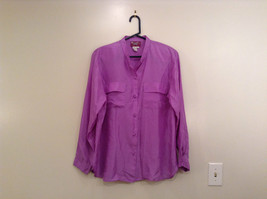 Denim and Company Size L Long Sleeve Lavender Button SILK Blouse image 1