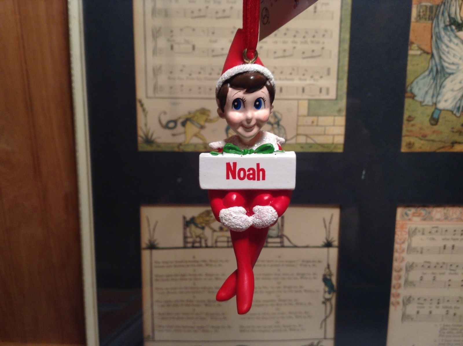 Dept 56 - Elf on the Shelf - Noah banner  Christmas Ornament