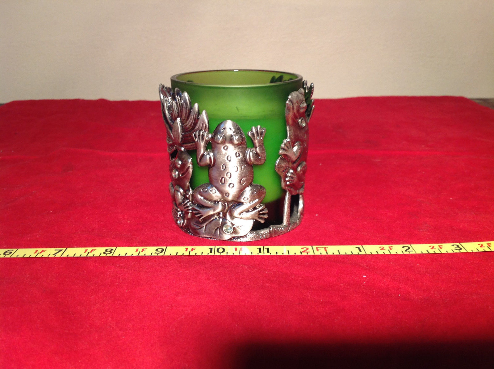 Decorative Green Candle with Candle Holder Metal Frog Design Faux Jewels