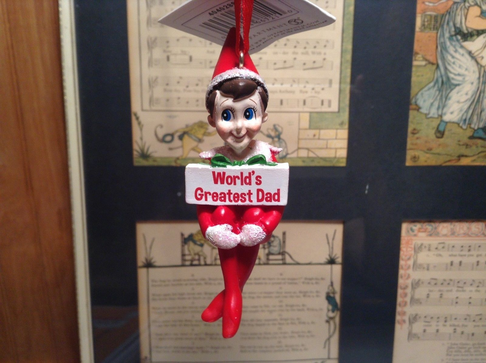 Dept 56 - Elf on the Shelf - World's Greatest Dad Christmas Ornament