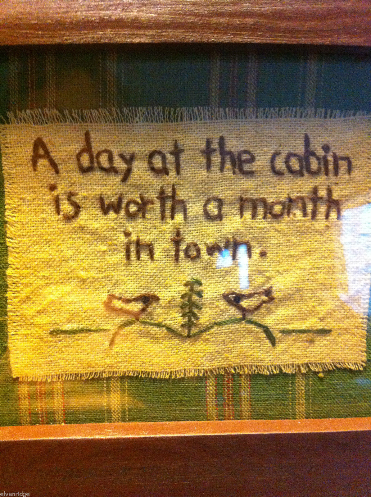 Distressed look new stitchery A Day at the Cabin is worth a month in town framed
