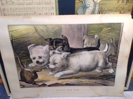 Currier Ives Lithograph 1868 Westie dogs and rat titled Who's Afraid of You? image 9