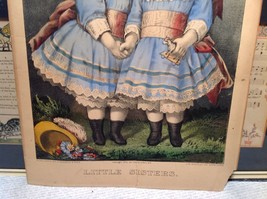Currier Ives Lithograph 1875 colorized Little Sisters image 3