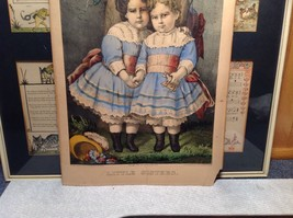 Currier Ives Lithograph 1875 colorized Little Sisters image 6