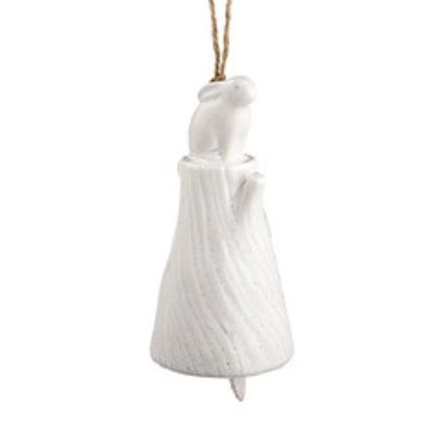 Department 56 Ceramic Bunny Rabbit wind chime bell Forest Lane