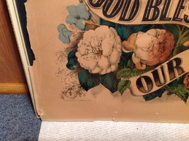 Currier and Ives Lithograph colorized God Bless our Home circa late 1800s image 12