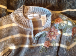 Cute Gray Sweater Very Soft Alfred Dunner Petite Stripes and Flowers Size PM image 11