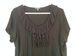 Cute Size 2X Notations Woman Black Short Sleeve Top with Frills image 2