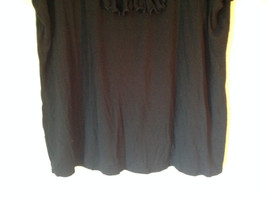 Cute Size 2X Notations Woman Black Short Sleeve Top with Frills image 3