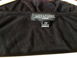Cute Size 2X Notations Woman Black Short Sleeve Top with Frills image 6