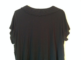 Cute Size 2X Notations Woman Black Short Sleeve Top with Frills image 4