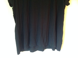 Cute Size 2X Notations Woman Black Short Sleeve Top with Frills image 5