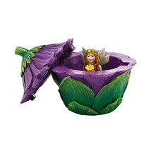 Department 56 Garden Guardian Violet Flower Trinket Box w Small Fairy Inside