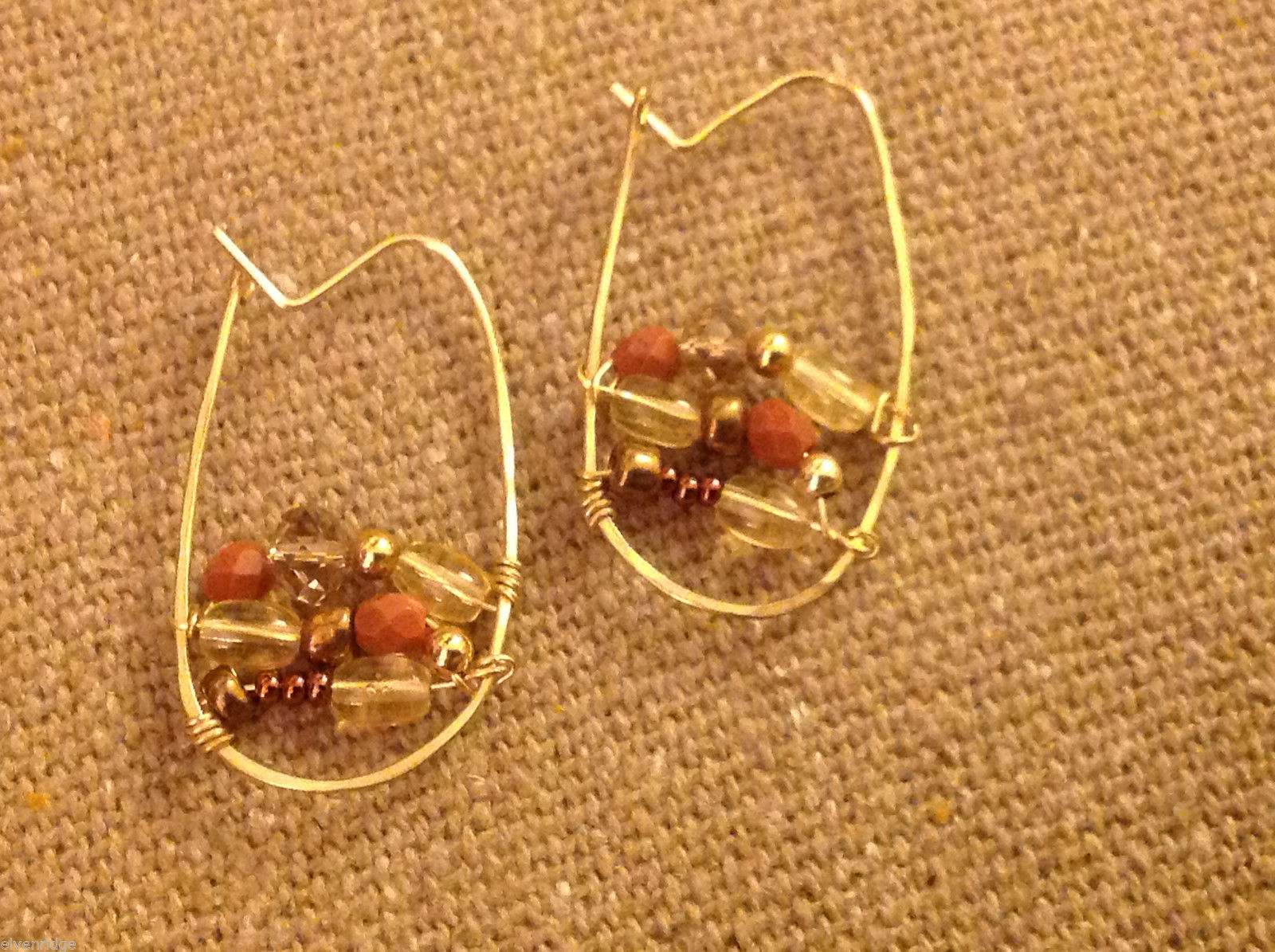 Designer gold wire earrings  with copper and crystal beads abstract hoops