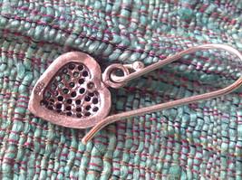 Cute Sweet Filigree Heart Sterling Silver Earrings Valentines Gift image 4