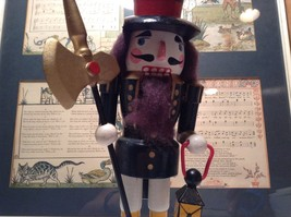 Cute Vintage Nutcracker Soldier Holding Axe and Lantern image 4