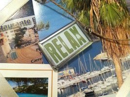 """2 sided """"Relax"""" row boat charm in metal frame image 2"""