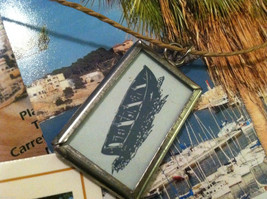 """2 sided """"Relax"""" row boat charm in metal frame image 4"""