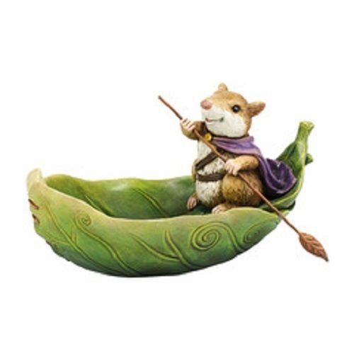 Department 56 Garden Guardians Mouse in Leaf Boat Butterfly Bath