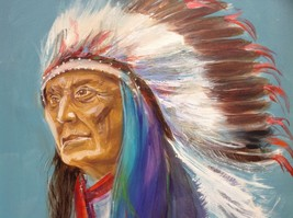 """24"""" x 36"""" Oil on Canvas Indian Chief Painting unknown artist image 3"""