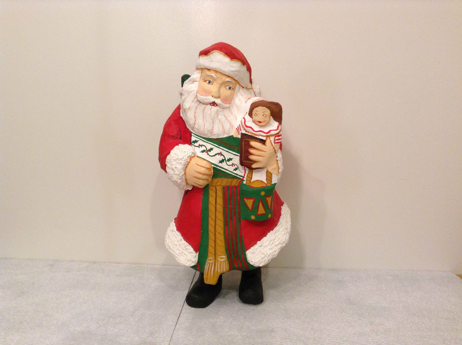 Department 56 Papier Mache Santa Figurine Hand Painted Collectable Vintage