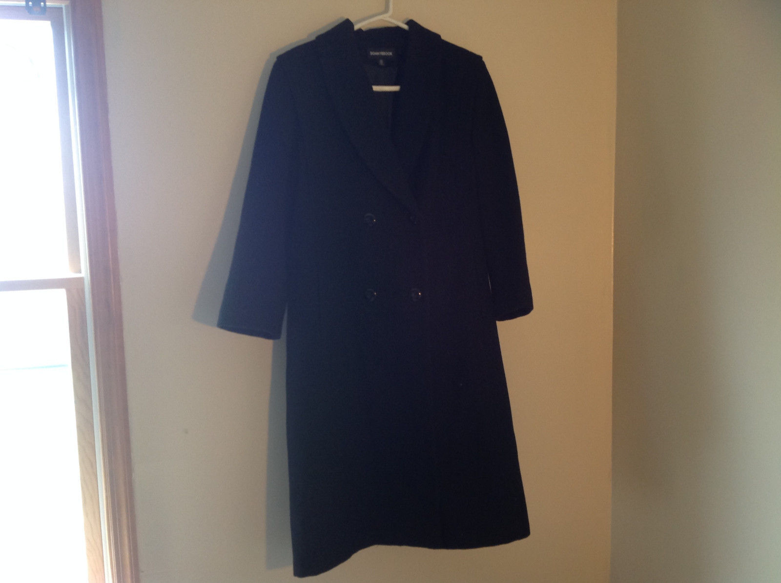 Donnybrook Black Double Breasted Long Length Peacoat Shoulder Pads Size 10P