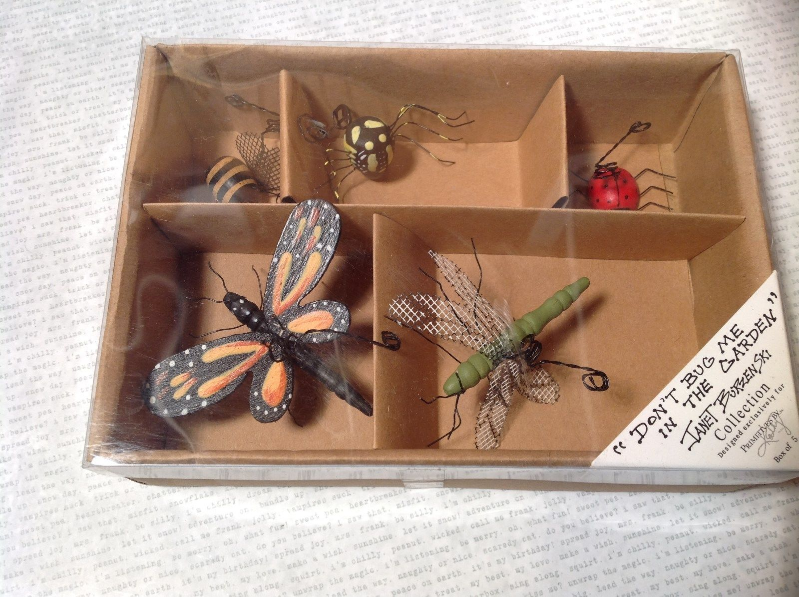 Don't Bug Me In The Garden Janet Burzenski Primitives Collection 5 Bug Ornaments