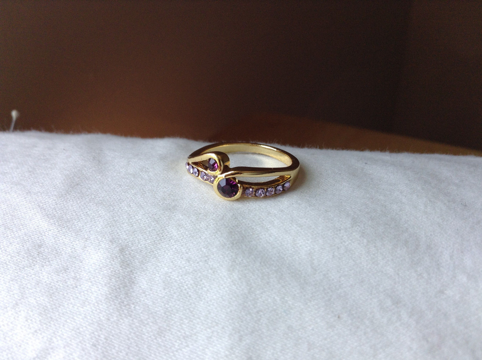 Double Purple CZ with Light Purple Accents Swirl Design Gold Planted Ring Size 7
