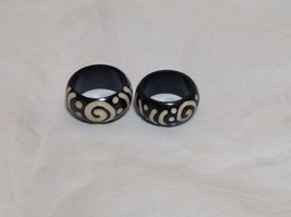 Dotted Swirl Design Wooden Ring Sizes 8 and 9.75 Sold Separately Handcrafted image 1
