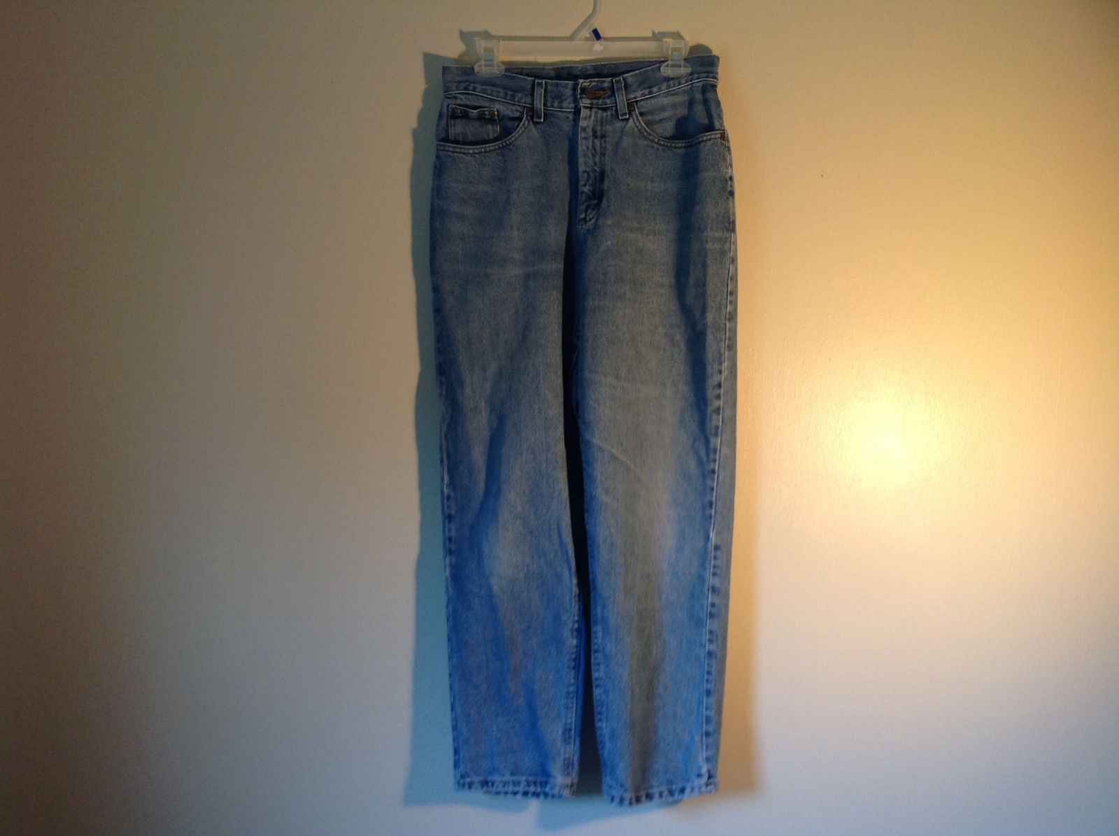 Double L Relaxed Fit Blue Denim Jeans L L Bean  Front and Back Pockets