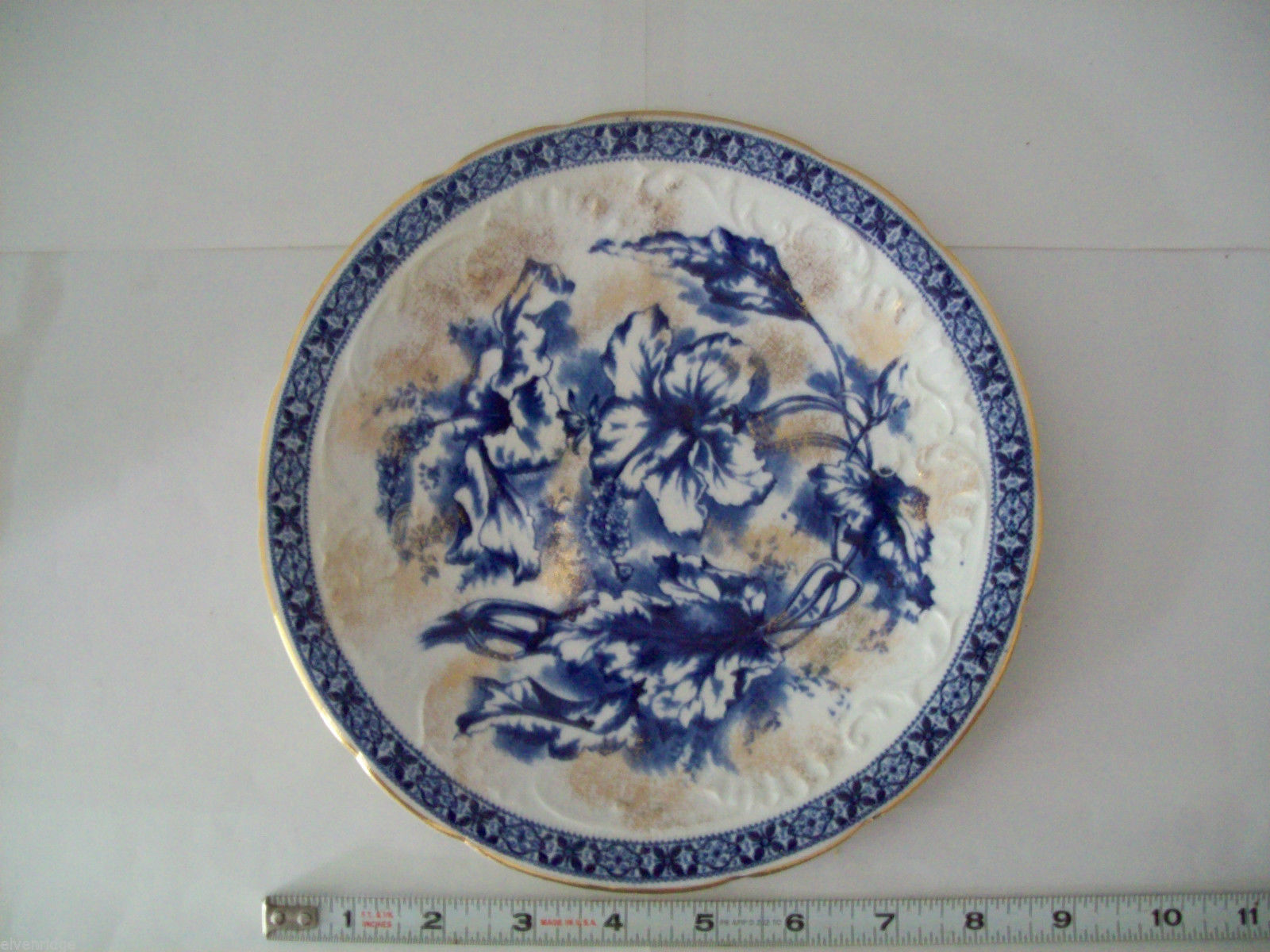 Dunn Bennett & Co Duchess Pattern Burslem England Dish blue and gold floral