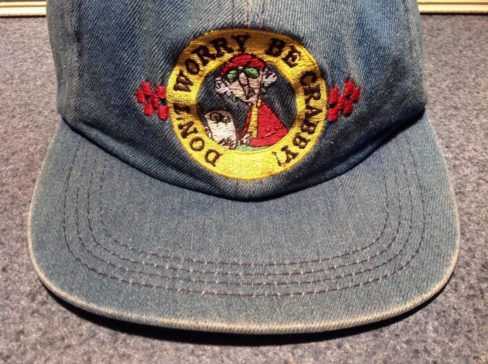 Don't Worry Be Crabby Blue Denim Cap Adjustable Size Maxine