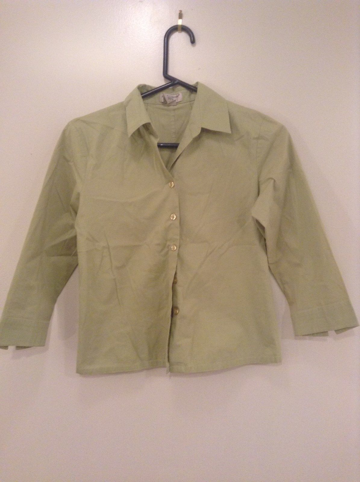 Edward Petite Stretch Green Button Up Long Sleeve Shirt Size Medium