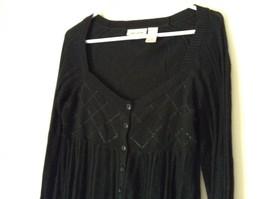 DKNY Jeans Black Size Medium Long Sleeve Button Up Shirt Pretty Design image 5