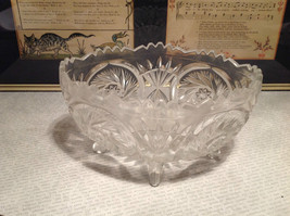 24 Percent Lead Crystal Vintage Crystal Serving Bowl Relief Made in Germany image 2