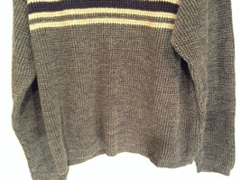 Dark Gray Sweater with Stripes American Eagle Outfitters Woven Size Large image 3