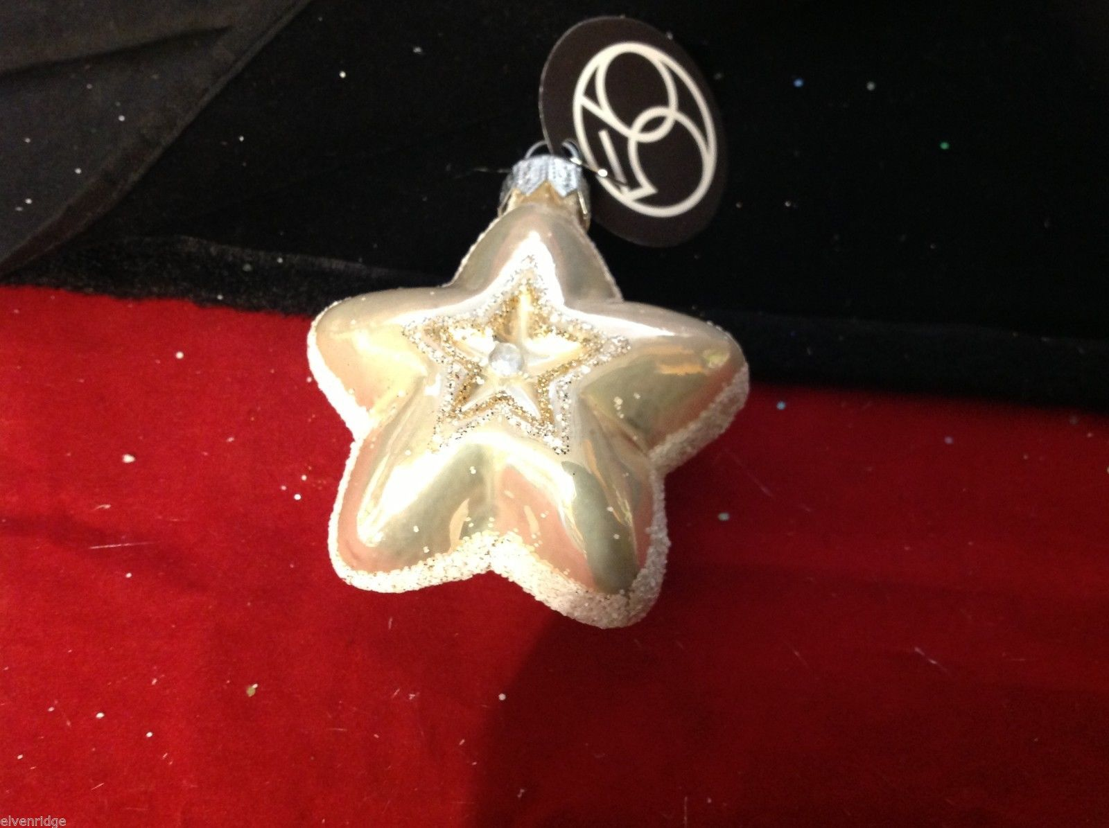 Department 56 blown glass star with glitter trim NEW