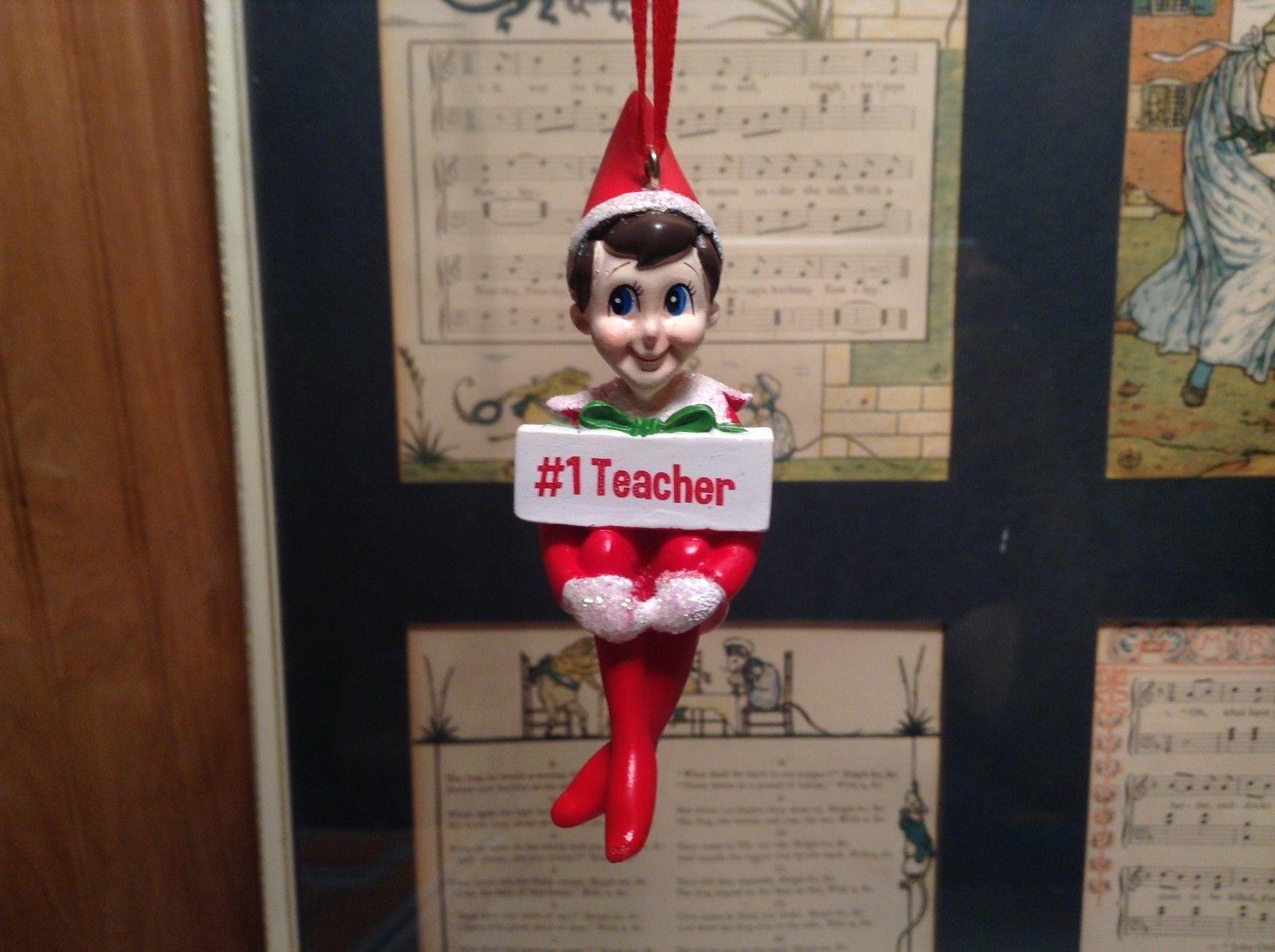 Dept 56 - Elf on the Shelf - #1 Teacher Number One  Christmas Ornament