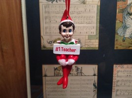 Dept 56 - Elf on the Shelf - #1 Teacher Number One  Christmas Ornament