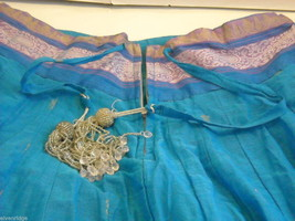 3 Piece Blue, Pink, and Purple Indian Gopi Skirt Set with Scarf image 4