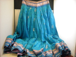 3 Piece Blue, Pink, and Purple Indian Gopi Skirt Set with Scarf image 2