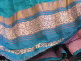 3 Piece Blue, Pink, and Purple Indian Gopi Skirt Set with Scarf image 5
