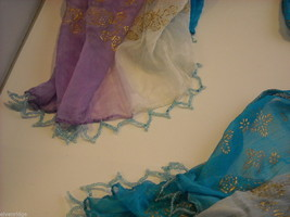 3 Piece Blue, Pink, and Purple Indian Gopi Skirt Set with Scarf image 8