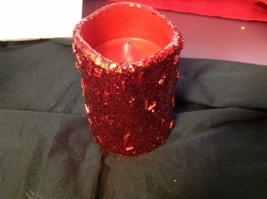 "Electronic battery powered LED glow red glitter candle 4"" w timer setting"