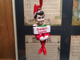 Dept 56 - Elf on the Shelf - Grandpa's favorite banner Christmas Ornament image 1