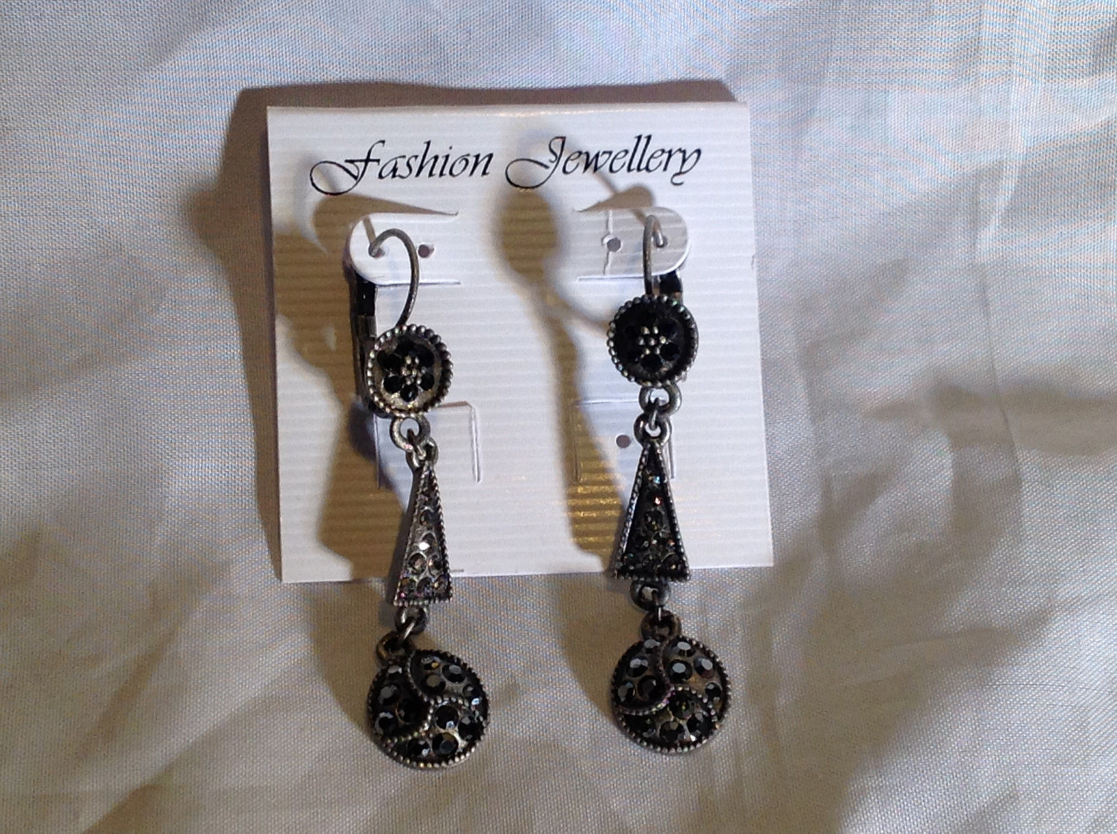 Elegant Antiqued Vintage Style Silver Tone Black Crystal Dangling Earrings