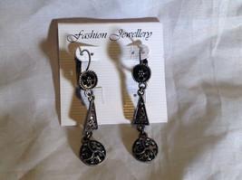 Elegant Antiqued Vintage Style Silver Tone Black Crystal Dangling Earrings