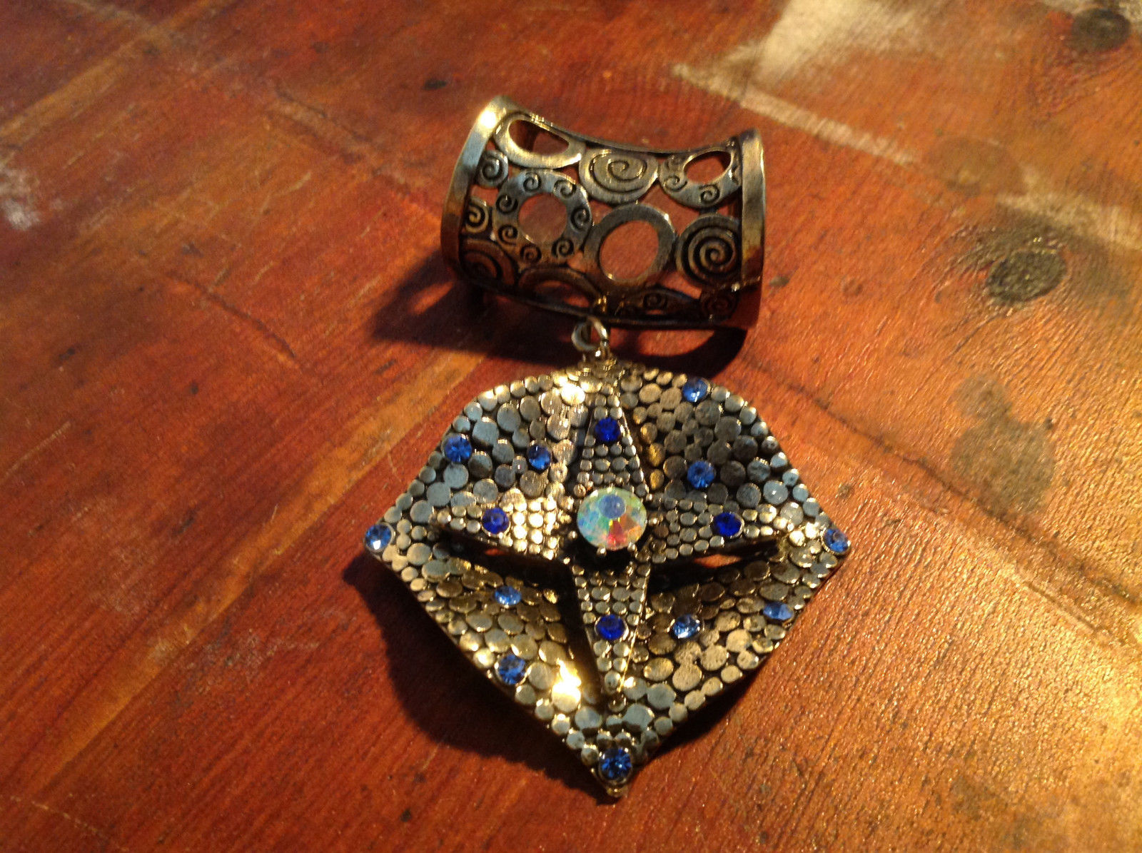 Elegant Square Multicolored Stone Small Blue Crystals Gold Tone Scarf Pendant